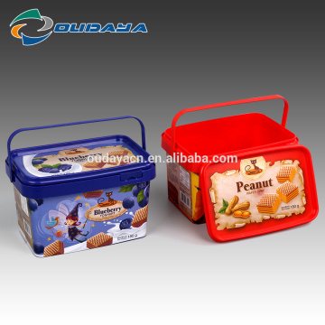plastic square biscuit food packaging box with handle