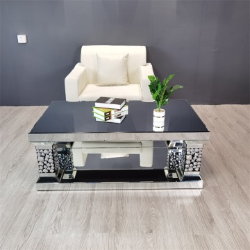 Silver Mirror Coffee Table With Crystal Diamonds