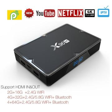 X96H 6K Android 9.0 TV Box 4G 32G With Dual Band Wifi Blueooth Support HDMI IN OUT Support Youtube Netflix IPTV Set top box