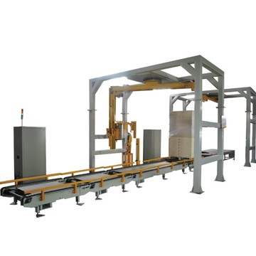 Rotary arm stretch packaging machine