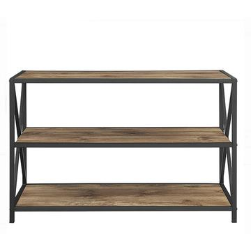 Console Solid Wood Bookshelf with Metal Frame