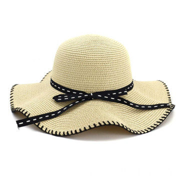 Wavy design cute bowtie plain style straw hat