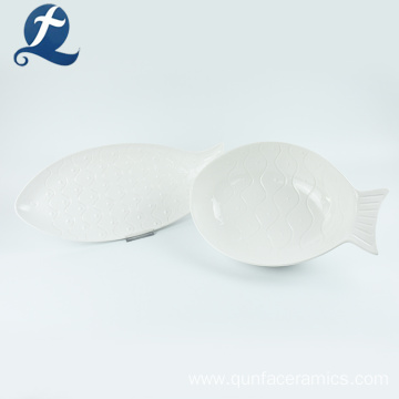 Hot sale household dinner tableware fish shape custom plate ceramic
