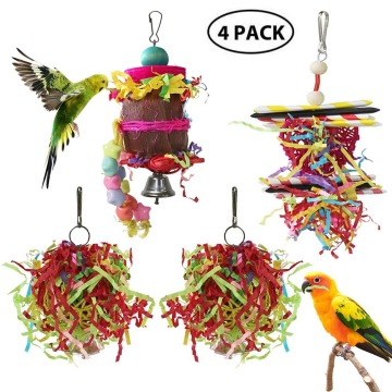 4pcs Parrot Bird Toy Small Parrot Chewing Toys Parrot Cage Foraging Hanging Toy Parrot Bird Toy Christmas Xmas New Year For Home