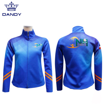 Royal blue sublimated cheerleading jackets