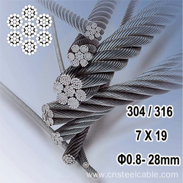 316 7X19 Dia.0.8mm-32mm Stainless steel wire rope