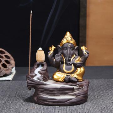 Elephant God Ganesha Backflow Incense Burner India Censer Holder Gifts Meditation Ornaments Home Office Decoration Crafts