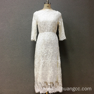 Women's cotton white embroidery long dress