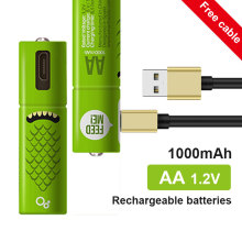 Wholesale 4PCS USB rechargeable battery AA1.2V 1000mAh Nickel metal hydride rechargeable battery for remote control small fan