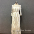 Women's polyester gold flower embroidery long dress