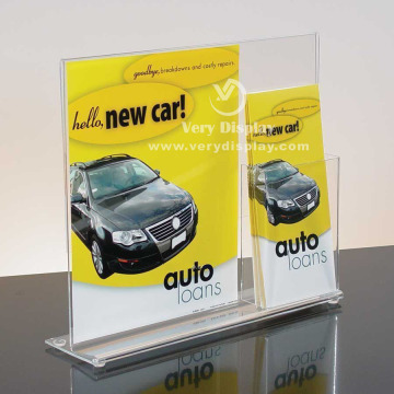 customized clear acrylic sign holder with brochure pocket