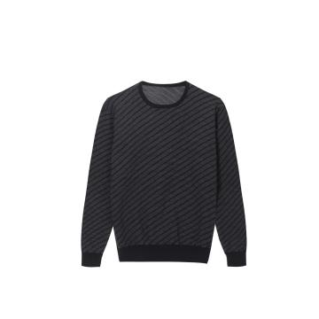 Men's Knitted Tweed Jacquard Crew-Neck Pullover
