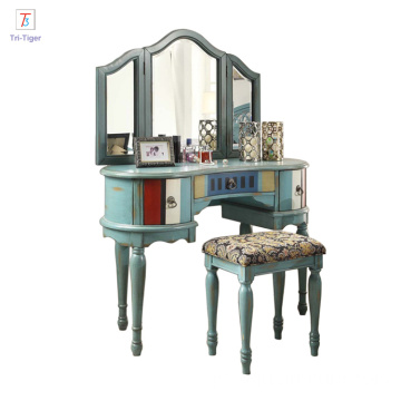 Cosmetics desk home decoration white makeup table mirrored bedroom dresser