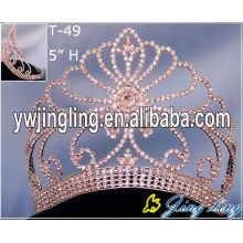 Silver High Pageant Gold Crowns Tiara For Winner