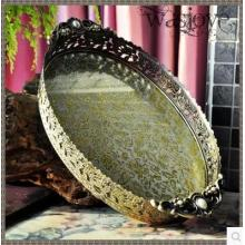 34.5x20.5cm oval embossed bronze /silver metal serving tray storage tray for fruit hotel restaurant home decoration FT041