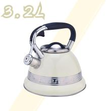 White with Stainless Steel Design Whistling Tea Kettle