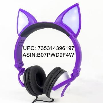 Headphones Wired Stereo Over-Head LED Cat Headphones