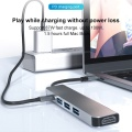 5 in 1 Type C USB Hub USB 3.0 4K HDMI Port Adapter High-Speed PD Charging Docking Station for Office PC Notebook