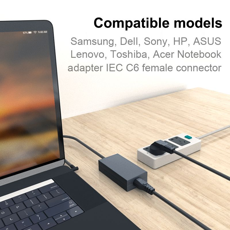 EU Power Adapter Supply Cord 1.5m 2m 3m Euro Plug IEC C5 Power Cable For HP Notebook Asus Dell Laptop Computer Monitor LG TV