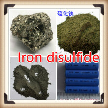 Lithium iron disulfide cathode material for batteries