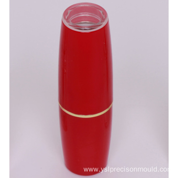 Red plastic cosmetic bottles
