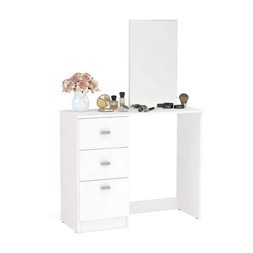 Portable Wood Veneer Makeup table with mirror