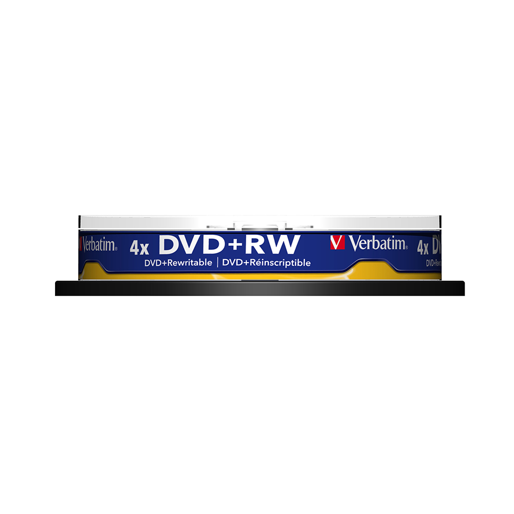 Verbatim 4x 4.7GB DVD+RW Blank Disc 10pk Spindle Lot Wholesale Original Branded Rewritable Disk Media Compact Data Storage DVD