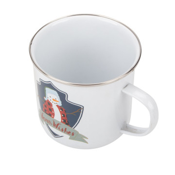White customized design camping mug
