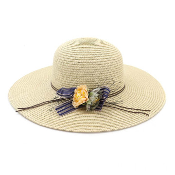 Purple decoration plain style summer paper straw hat