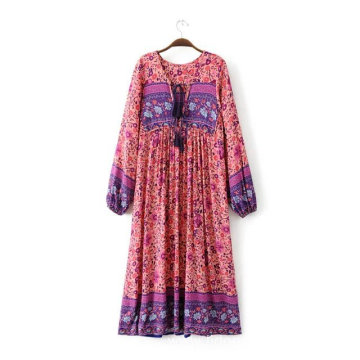 Clothing Flower Printing Loose Casual Dress With Bow