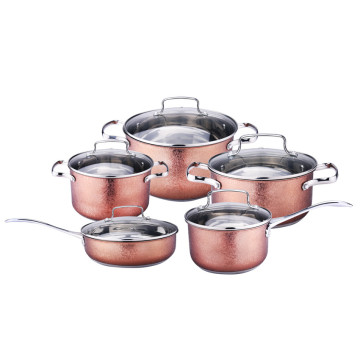 10pcs cookware sets cooking pot with glass lid