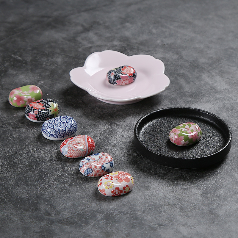 Ceramic Incense Stick Japanese Style Cherry Blossom Broad Bean Incense Holder Chopstick Rest Small Ornament