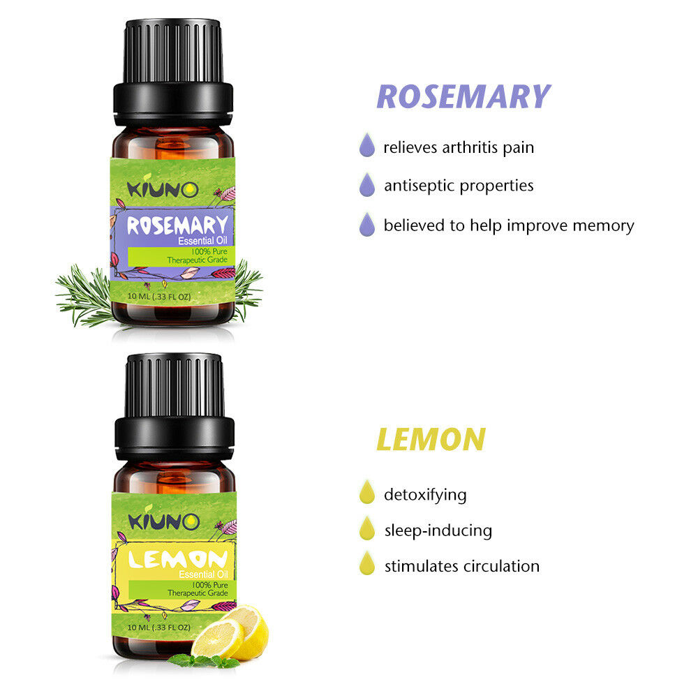 KINUO 10ML Rosemary Essential Oils for Aromatherapy Diffusers Lavender Tea tree Lemongrass Orange Rosemary Oil Home Air Care