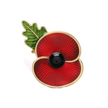 Red Enamel British Poppy Brooch Flower Pin with Leaf Remembrance Souvenir