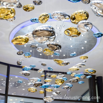 Luxury hotel lobby bubble shape glass chandelier
