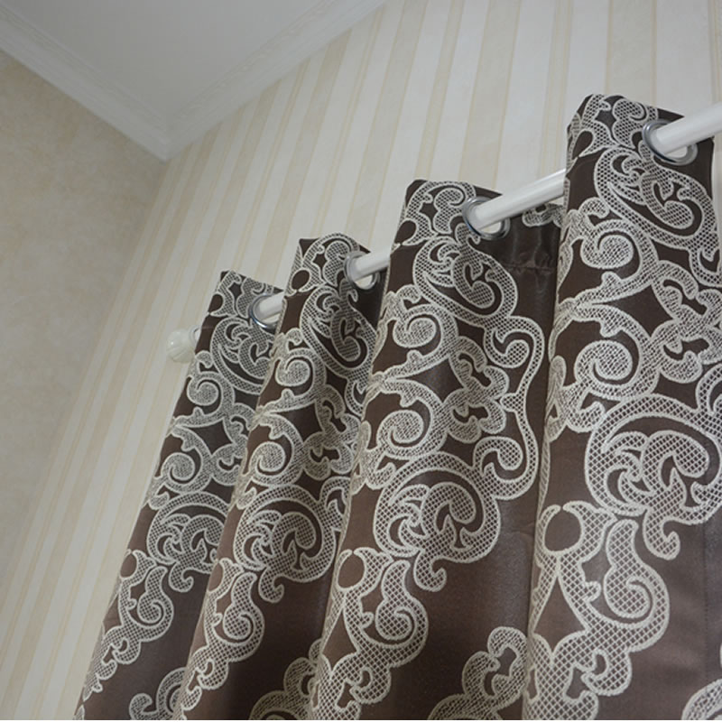 Polyester Embroidery Like Jacquard Curtain Rod Fabric GF024 Chocolate