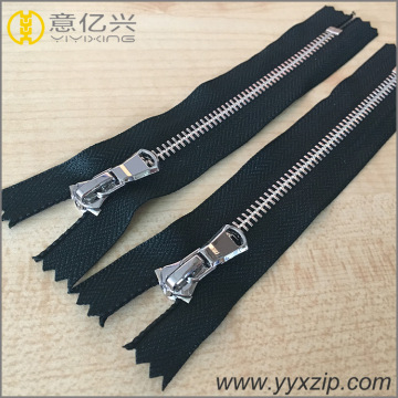 highly polished teeth metal silver zipper for jacket
