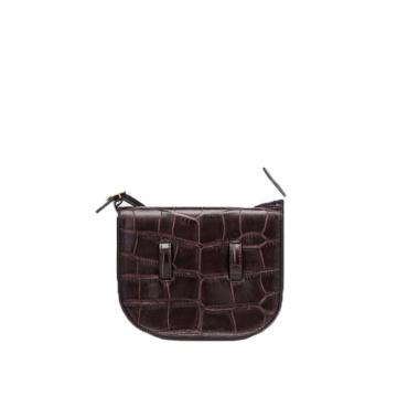 Mini Genuine Leather Crocodile Saddle Shoulder Bag