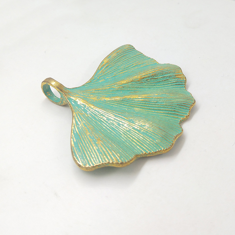 2pcs/bag 53*45MM Patina Plated Zinc Alloy Green Leaf Ginkgo Charms Pendants For DIY Accessories