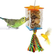 Bird Foraging Toys Parrot Feeder Intelligence Cage Acrylic Food Box Swing Rope Toys Millet Container for Cockatiel Conure Reliev