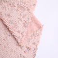 Lt Pink Polyester Chiffon Sequin Embroidery Fabric