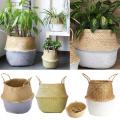 Room Decor Foldable Portable Straw Storage Plant Nursery Bag Flower Basket Succulent Pot Seagrass Gardening Supplies