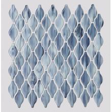 Living Room Blue Gold Lantern Shape Glass Mosaic