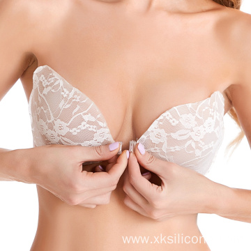 Wing Strapless lace Bra Silicone Push-up Self-adhesive