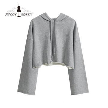 Fashion Short Hooded Three Quarter Crop Top Hoodies Women