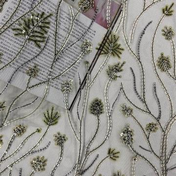 Green Thriving Plants Sequin Embroidery Fabric