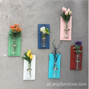 Colorful wood rack Wall hanging air plants holder