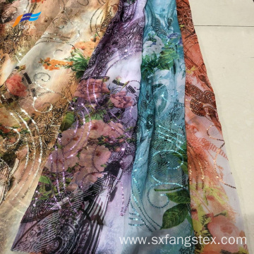 100% Polyester Chiffon Sequins Voile Woven Fabric