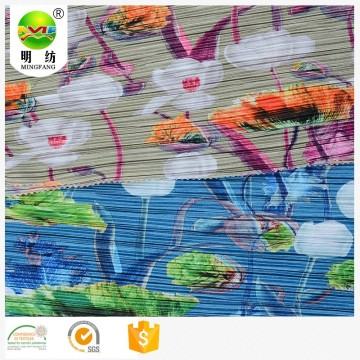 Wholesale 100% polyester print pleated tulle knitted fabric