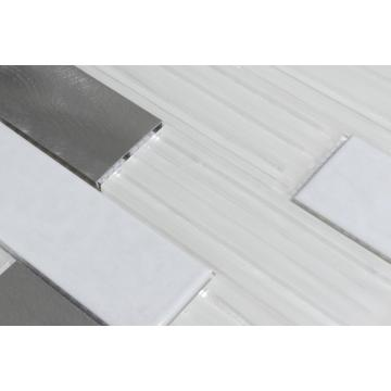 Off-white smooth luxury glass mosaic tiles